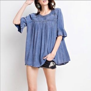 Easel boho bell sleeve tunic top size small